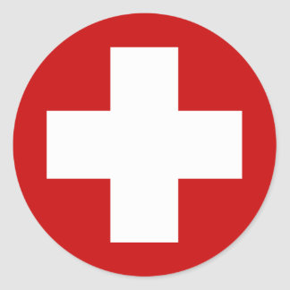 Swiss Red Cross Emergency Roundell Round Sticker