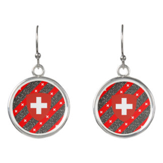 Swiss stripes flag earrings