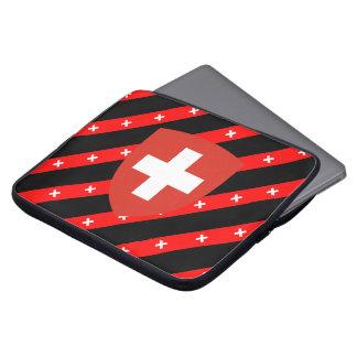 Swiss stripes flag laptop sleeve