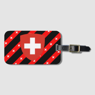 Swiss stripes flag luggage tag