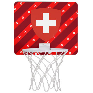 Swiss stripes flag mini basketball hoop