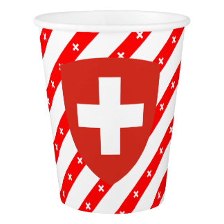Swiss stripes flag paper cup