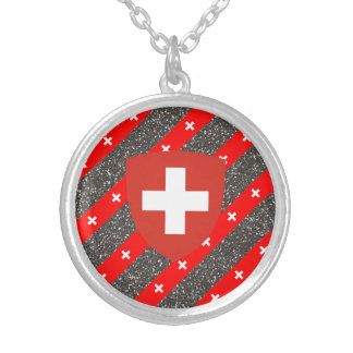 Swiss stripes flag silver plated necklace