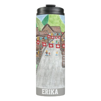 Swiss village personalised thermal tumbler
