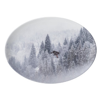 Swiss Winter Porcelain Platter Porcelain Serving Platter