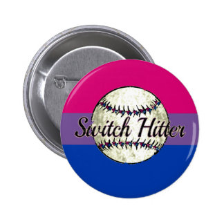 Switch Hitter With Bi Pride Flag Pinback Button