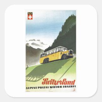 Switzerland Alpine Bus Vintage Travel Square Sticker