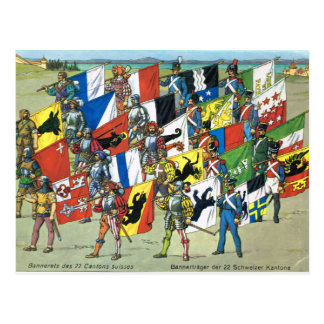 Switzerland, Banners of the 22 Swiss Cantons Postcard