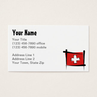 Switzerland Brush Flag Business Card