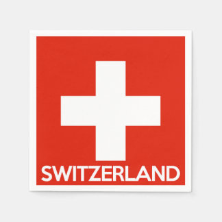 Switzerland country flag symbol name text swiss paper serviettes