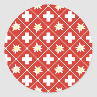 Switzerland Edelweiss pattern Classic Round Sticker