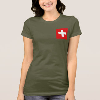 Switzerland Flag and Map dk T-Shirt
