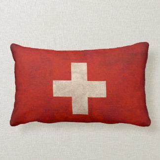 Switzerland Flag Distressed Pillow