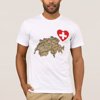 Switzerland Flag Heart and Map T-Shirt