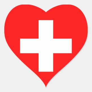 Switzerland Flag Heart Sticker