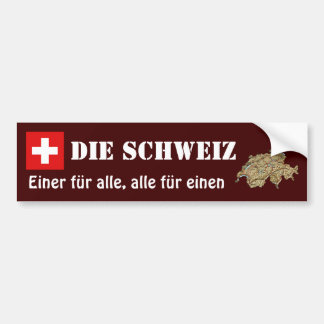 Switzerland Flag + Map Bumper Sticker