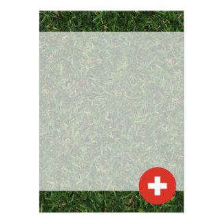 Switzerland Flag on Grass 13 Cm X 18 Cm Invitation Card