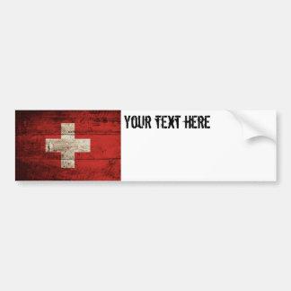 Switzerland Flag on Old Wood Grain Bumper Sticker