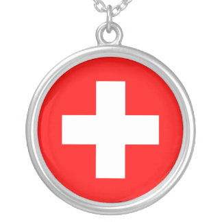 Switzerland Flag Silver Plated Necklace