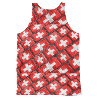 Switzerland Flag Urban Grunge Pattern All-Over Print Singlet