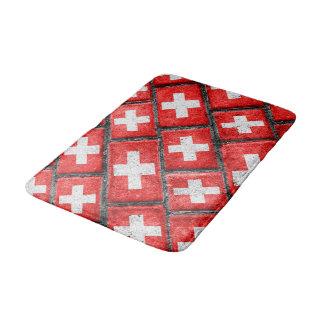 Switzerland Flag Urban Grunge Pattern Bath Mats