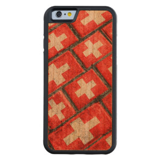 Switzerland Flag Urban Grunge Pattern Carved Cherry iPhone 6 Bumper Case
