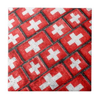 Switzerland Flag Urban Grunge Pattern Ceramic Tile