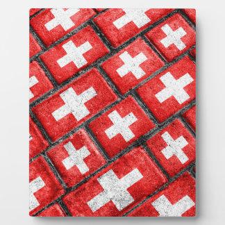 Switzerland Flag Urban Grunge Pattern Display Plaque