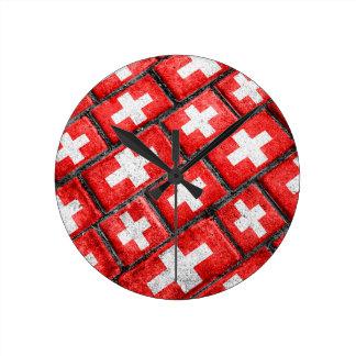 Switzerland Flag Urban Grunge Pattern Round Clock