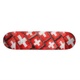 Switzerland Flag Urban Grunge Pattern Skate Board