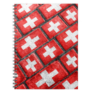 Switzerland Flag Urban Grunge Pattern Spiral Notebook