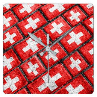 Switzerland Flag Urban Grunge Pattern Square Wall Clock