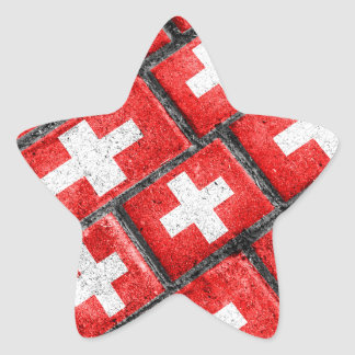 Switzerland Flag Urban Grunge Pattern Star Sticker
