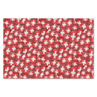 Switzerland Flag Urban Grunge Pattern Tissue Paper