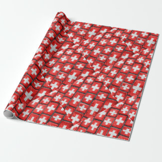 Switzerland Flag Urban Grunge Pattern Wrapping Paper