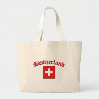 Switzerland Flag (w/inscription) Large Tote Bag