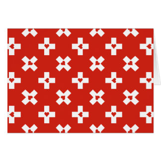 Switzerland Flag with  Heart pattern blank Card
