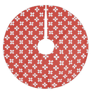 Switzerland Flag with  Heart pattern Brushed Polyester Tree Skirt
