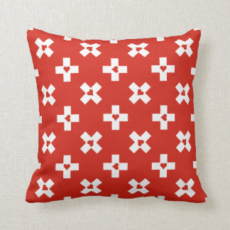 Switzerland Flag with  Heart pattern Cushion