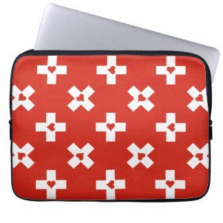 Switzerland Flag with  Heart pattern Laptop Sleeve