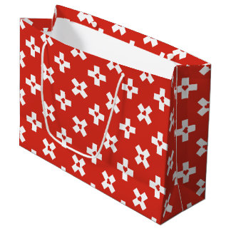 Switzerland Flag with  Heart pattern Large Gift Bag
