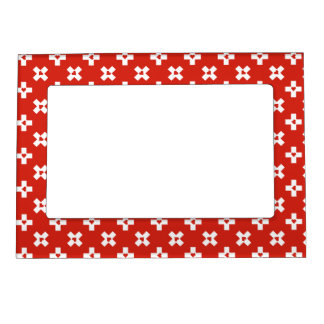 Switzerland Flag with  Heart pattern Magnetic Frame