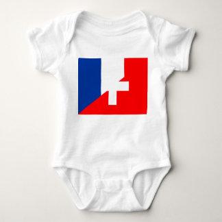 switzerland france flag country half symbol swiss baby bodysuit