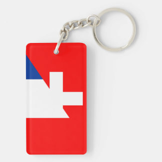 switzerland france flag country half symbol swiss key ring
