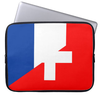 switzerland france flag country half symbol swiss laptop sleeve