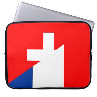switzerland france flag country half symbol swiss laptop sleeve