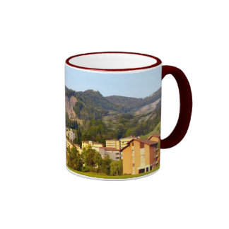 Switzerland, High rise buildings and mountains Ringer Mug