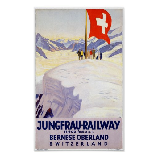 Switzerland Jungfrau Railway Vintage Poster