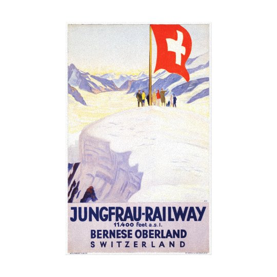 Switzerland Jungfrau Railway Vintage Poster Canvas Print