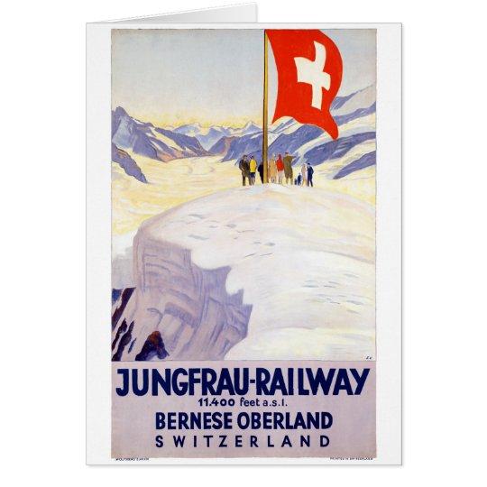 Switzerland Jungfrau Railway Vintage Poster Card